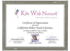 Kids Wish Network Certificate